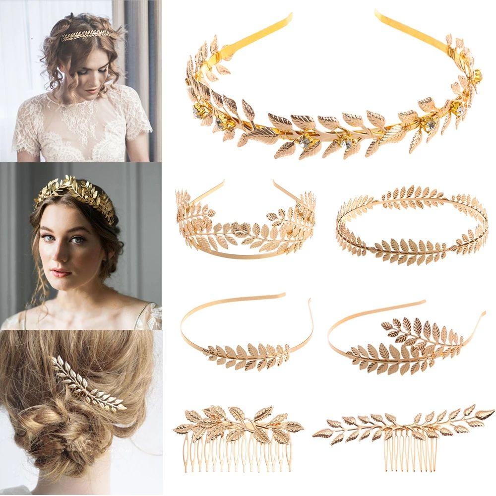 Kadınlar Düğün Metal Altın Yaprak Kelebek Saç Bantlar Kızlar Gelin Saç Aksesuarları A5069 İçin Moda Retro Saç Bantları