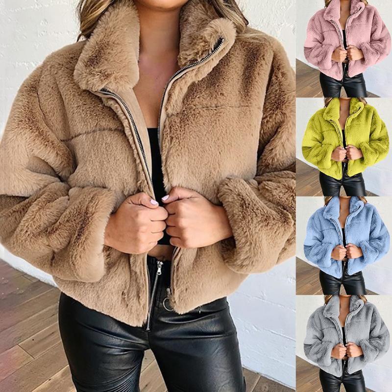 2020 여성 테디 코트 여성 겨울 가짜 모피 코트 두꺼운 플러스 사이즈 솜털 주머니 플러시 재킷 숙녀 가을 오버 코트 겉옷