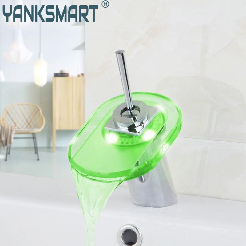 LED Cam Kare Şelale Banyo Havzası Evye Bataryası Banyo Vanity Mikser Dokunun Krom Cilalı Musluk Mikserler Musluklar