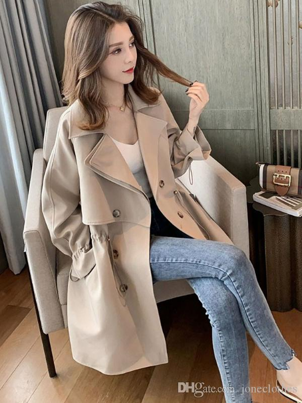 Trench casaco mulheres longa seção pequena versão coreana solta solta rede de terno vermelho colar cintura casual retro jaqueta
