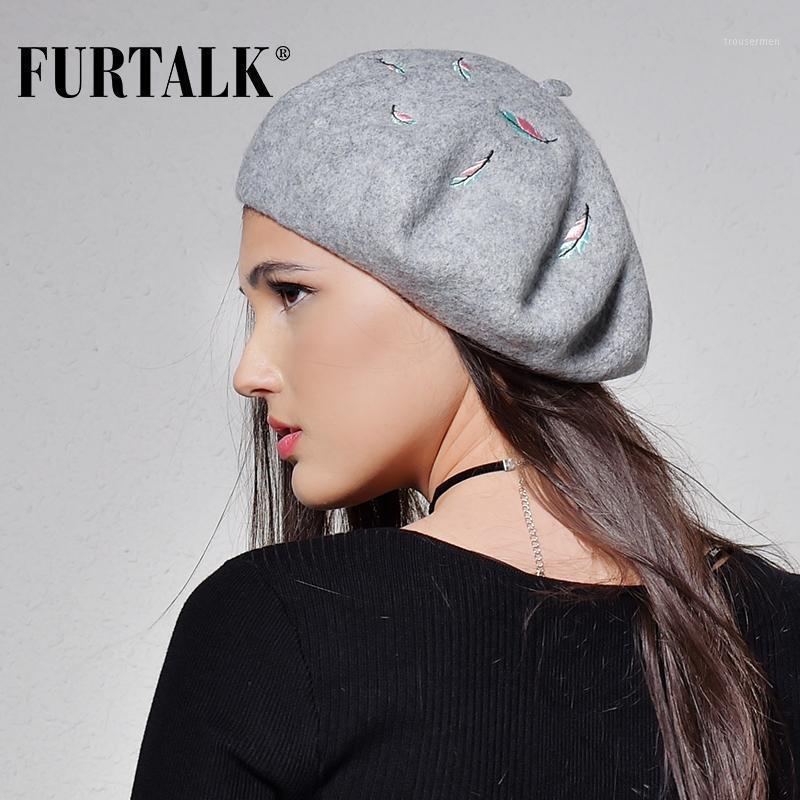 Furtalk Herbst Winter Frauen 100% Wolle Baret mit Stickereidekoration Warme Winterhüte für Frauen und Mädchen 2020 Neue Ankünfte1