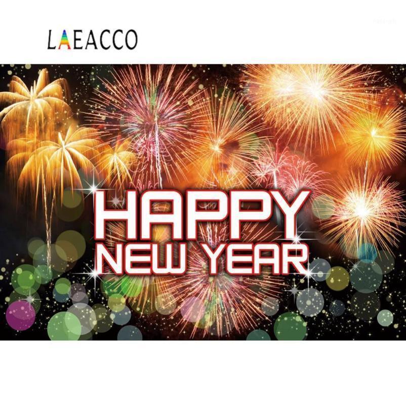 Laeacco Happy New Year Hintergründe für Fotografie Bunte Feuerwerke Kracher Polka Dots Party Baby Poster Photo Backrops1