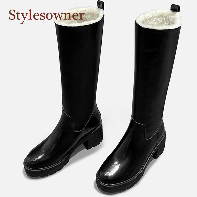 Vera Pelle più velluto Inverno Ginocchio-Alto Snow Boots punta rotonda tacco quadrato laterale cerniera di alta Heel Boots 2021 nuovo Arrivial