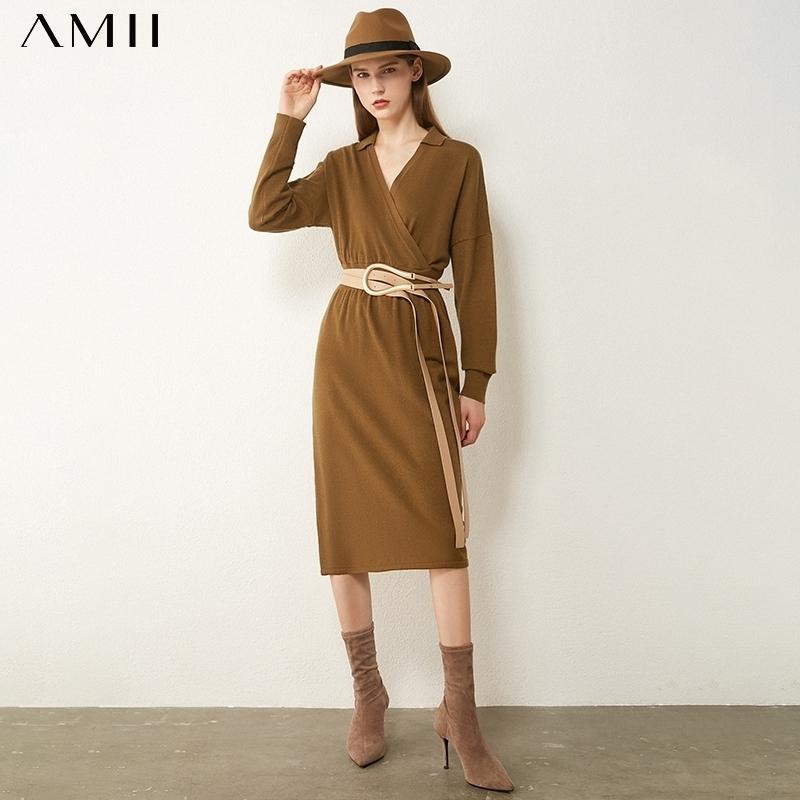 AMII Минимализм осень зима мода старинные платья для женщин твердого вентиляционного свитера свитер свитер женского свитера 12040908 201027