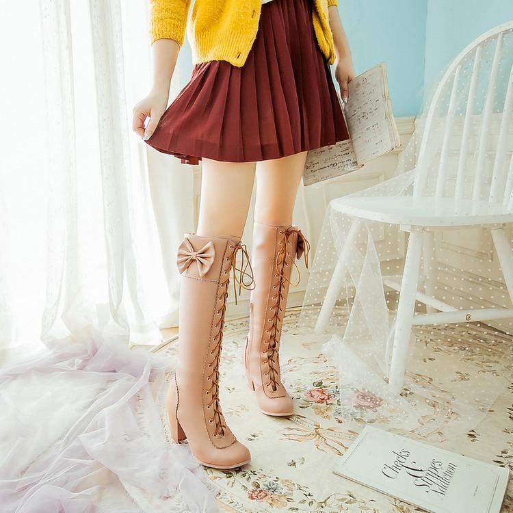 Winter Sweet Women Knee High Boots PU Leather Round Toe 7cm High Block Heels Bowtie Lace-up Lolita Lady Zipper Long Riding Boots