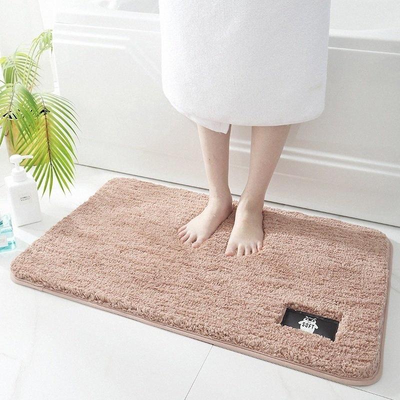 Felpa color sólido del hogar del cojín del pie de baño antideslizante puerta de la estera estera del piso de la alfombra absorbente PM8z #