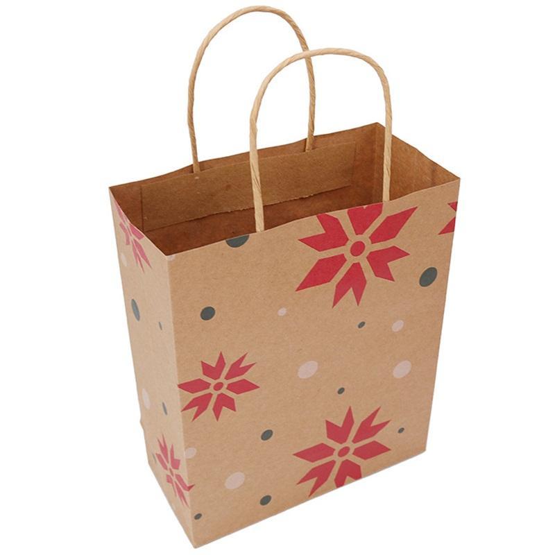 Portatile Candy Regts Bustina di carta Kraft Paper Snowflake Tree Xmas Tree Stampe geometriche Borse di imballaggio Borse di Natale Borsa di Natale Decorazioni per feste 1 06 mbm E1