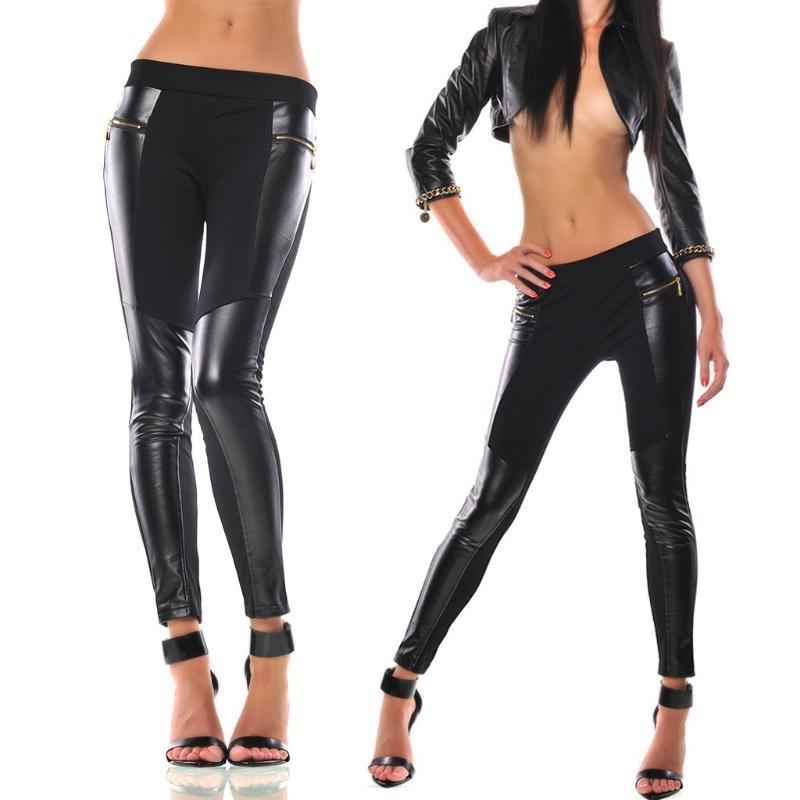Mujeres Patchwork Stitching Zipper Pocket Charm Leggings Pantalones estirados