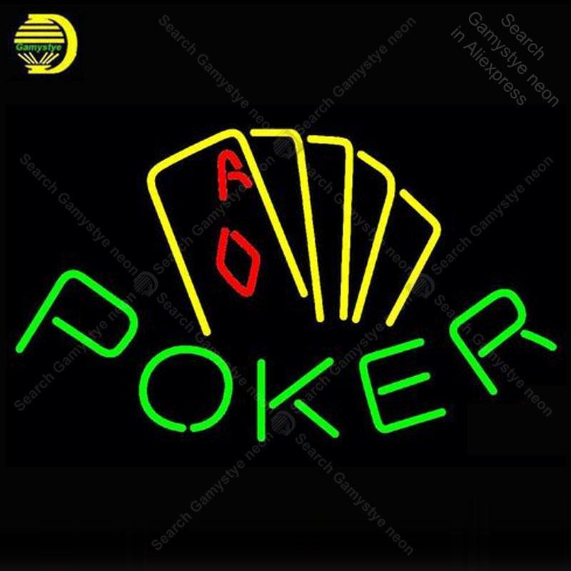 segno poker giallo neon reale tubo di vetro delle lampadine Light Bar Beer Club personalizzato Game Room segni negozio decorazioni Insegna lampada a mano