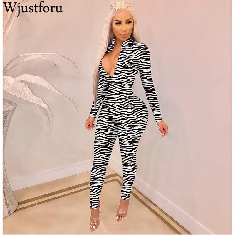 Wjustforu Sexy Stampa Club Tuta per le donne Skinny Tantsuit Donne Deep V Collo a V Manica lunga Bodycon Body Streetwear anteriore T200509