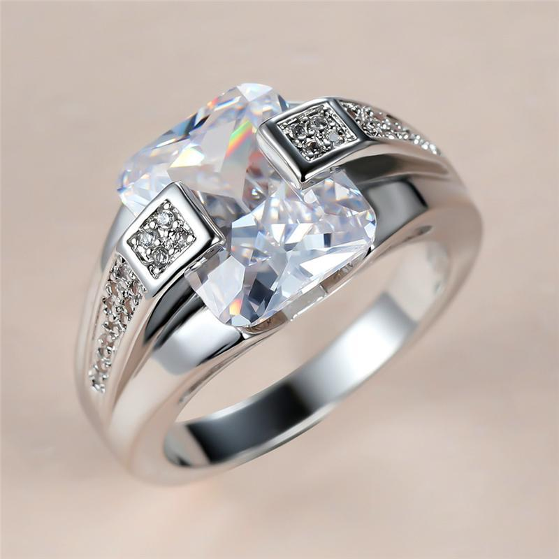 Trendy Male Female White Crystal Stone Ring Charm Silver Color Wedding Ring Classic Square Zircon Engagement Rings For Women Men