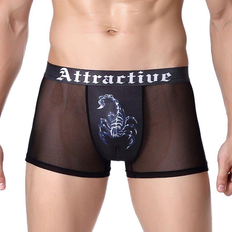 de homens sexy fina e transparente fresco Underwear Boxer adolescente Shorts de Nice e respirável Boxers