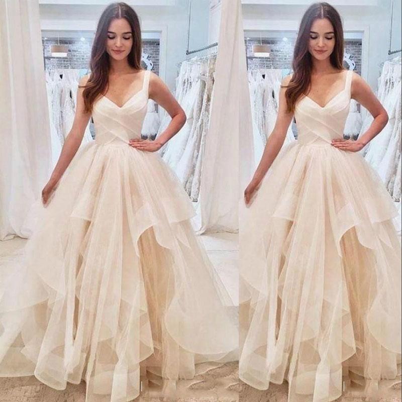 2021 Новый Тюль Свадебные платья ремни V шеи Ruched оборками многоуровневого Юбка из органзы длиной до пола Свадебные платья Платье-де-Novia