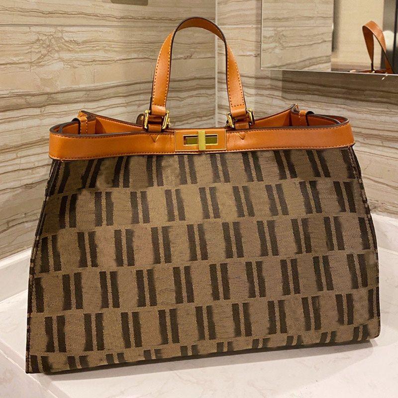 Canvas Tote Bag Large Capacity Package Women Handbag Purse Shoulder Bag Fashion Patchwork Color Shopping Bag Twist Lock
