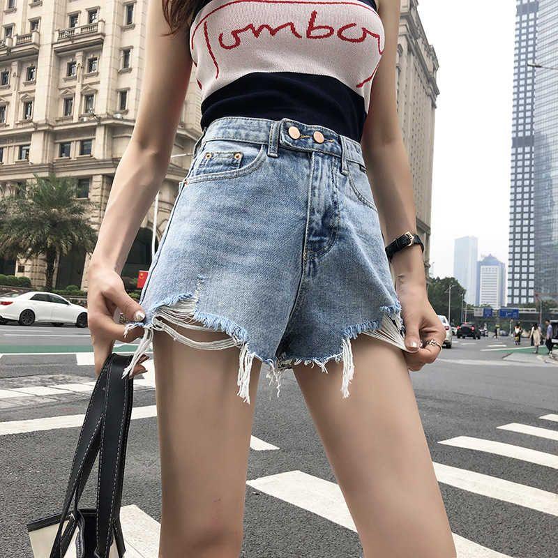 Holed Denim Şort kadınların Yüksek Bel 2021 Yeni Xiaxian Ince Gevşek A-Line Moda Giyim Geniş Bacak Sıcak Pantolon Kore Versiyonu