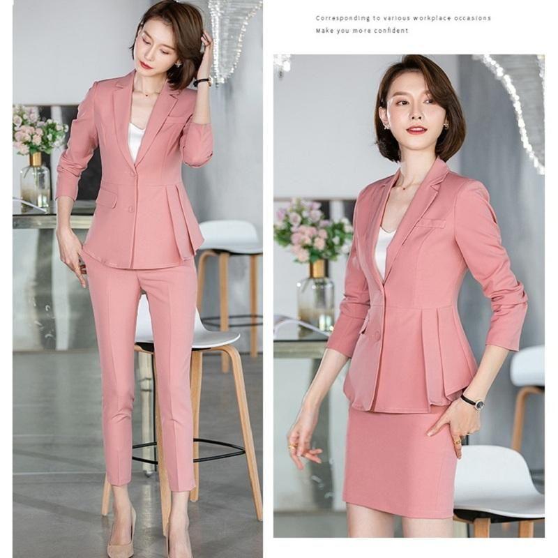 Fromal rose blazer femme costume costumes pantalons et veste bureau dames travail vêtements vêtements d'uniforme vêtements élégants