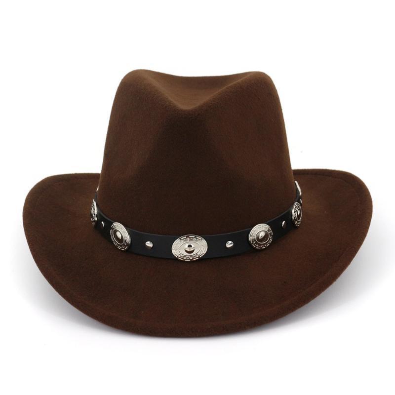 Femmes Mode Hommes Laine Western Chapeau de cowboy Roll-up Brim Gentleman Dad Jazz équestre Sombrero Hombre Cap Ceinture en cuir chapeau fedora