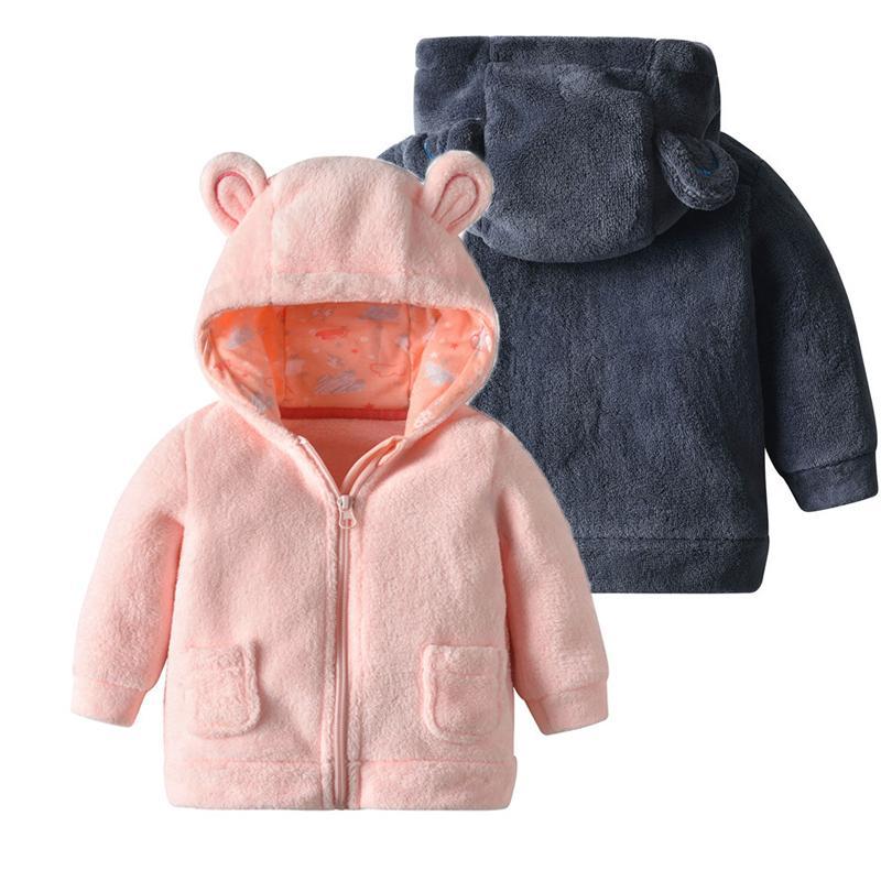 Bebê recém-nascido Rapazes Meninas Jacket infantil Outono Inverno dos desenhos animados com capuz de lã casaco quente de pelúcia Kids First Roupas aniversário 18 Meses 1005