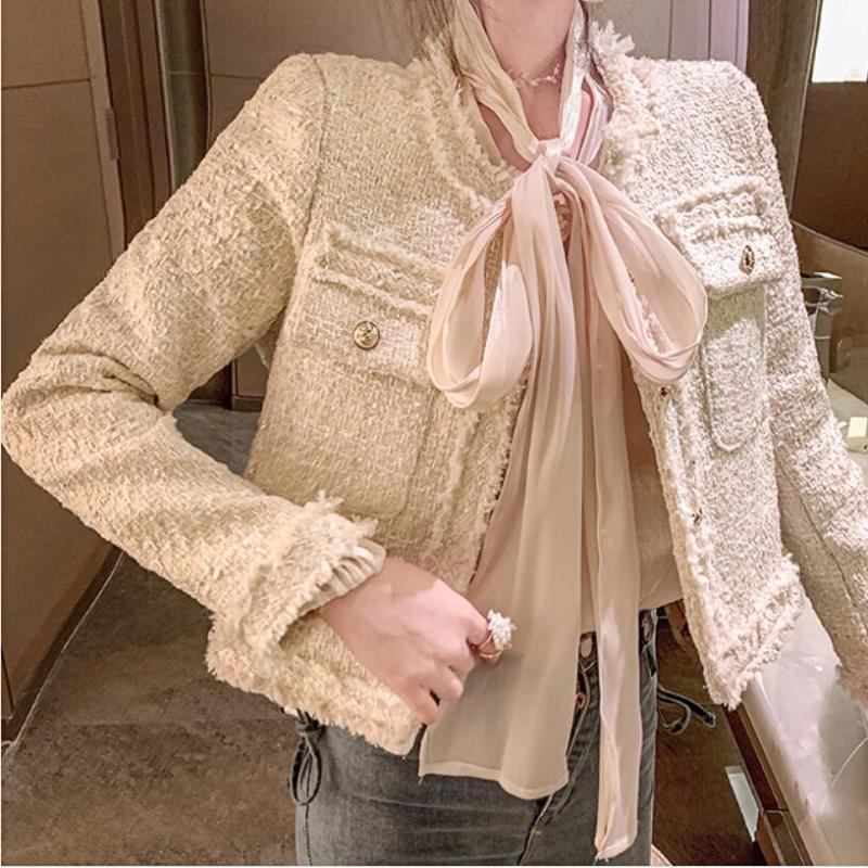 Tweed femmes manteau petit parfum unique à poitrine printemps automne 2020 veste dames minces col o