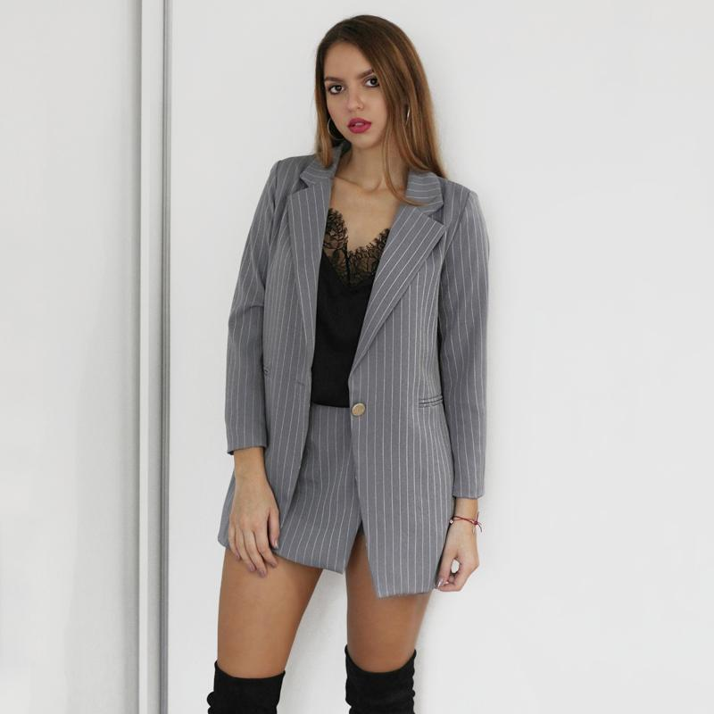 Fashion Women Skirt Suits One Button Notched Striped Blazer Jackets and Slim Mini Skirts Two Pieces OL Sets Female Outfits 201012