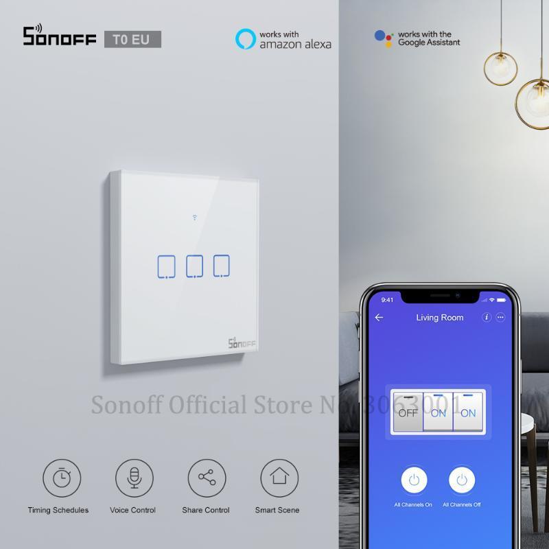 Smart Home Control Sonoff T0 EU TX WiFi WiFi Switch wireless interruttore wireless 1/2/3 Gang Voice / App Remote Lavoro con Alexa Google