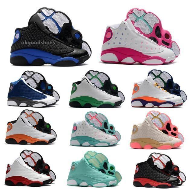 ولدت رجل 13 13S أحذية كرة السلة أحذية رياضية jumpman البلاي اوف الصوان الأسود القط جزيرة محظوظ الخضراء منخفضة chaussures البلاتين النقي الرجال المدربين