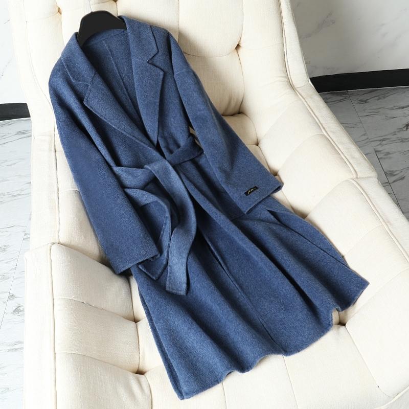 Manteau de laine longue en laine dames Automne hiver Nouvelle ceinture de haute qualité Courroie double face Laine Veste de survêtement coréen Femmes lâches Outwear 201104