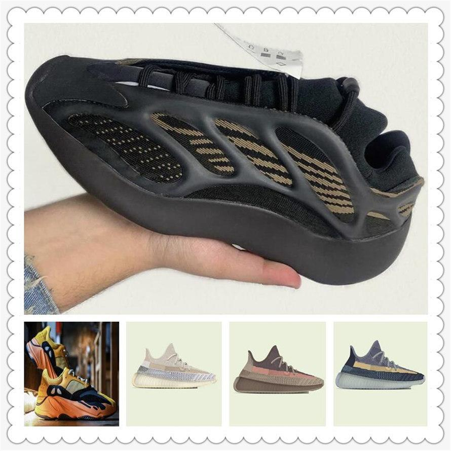 Chaussures de sport pour femmes 2021 Kanye West Ash-Pearl Chaussures Cendres Sun Light Sun Light Reflectif Casual Sport Sneakers Navy Bleu Chaussure Taille 36-48