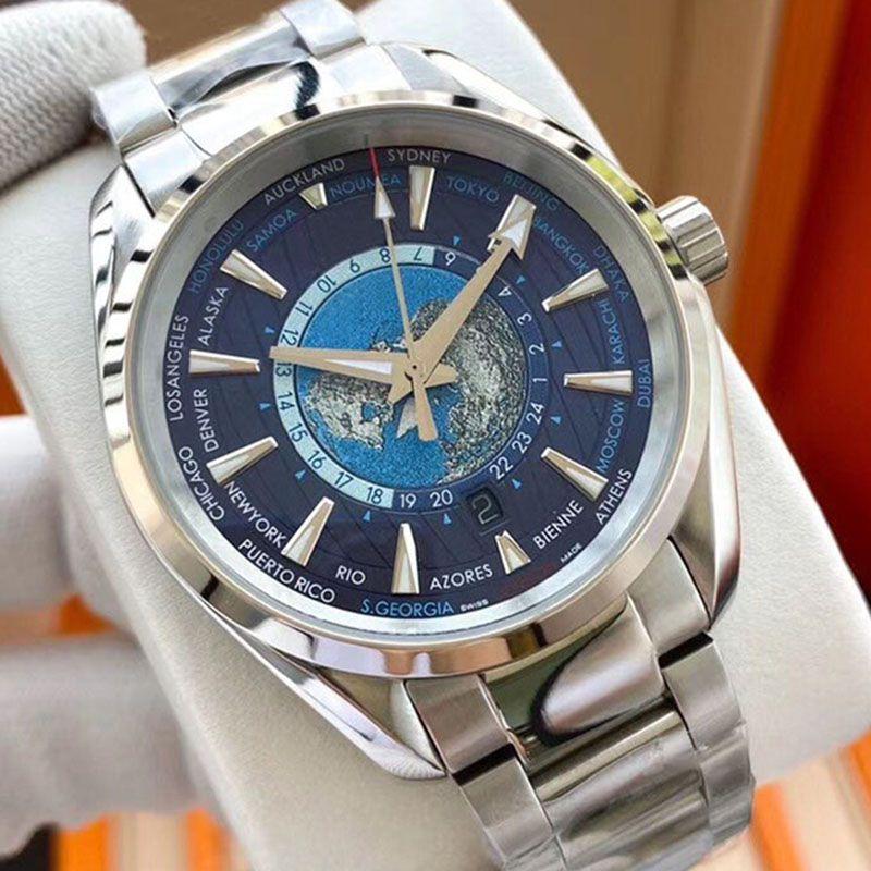 Moda Mens LuxoAssista World Time James Bond 007 Homens Relógios Automáticos Movimento Mecânico Masculino Skyfall Relógio de Aço