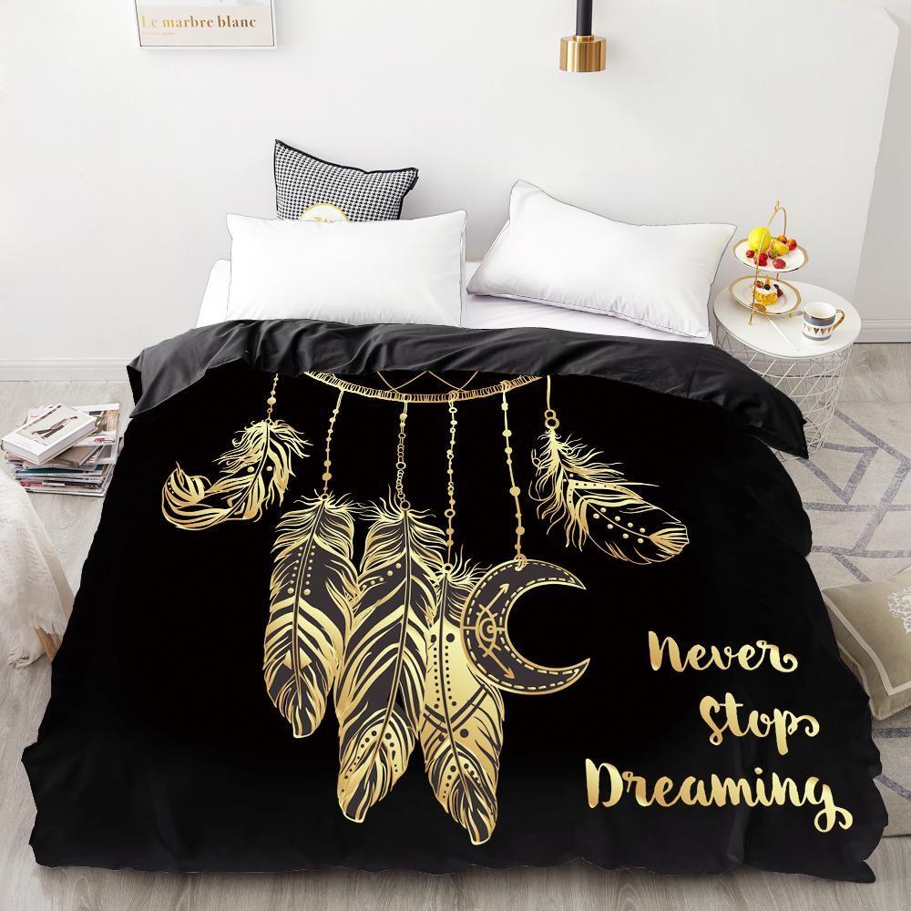 Cubierta de edredón personalizada de impresión digital HD 3D, edredón / edredón / manta Estuche Reina King cama 220x240, ropa de cama Golden Feather Y200417