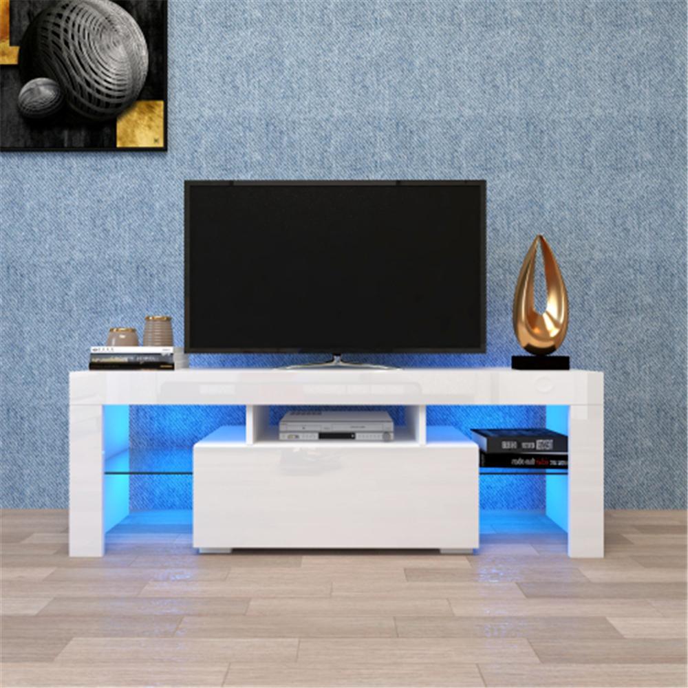 WACO TV кабинета, элегантный высокий глянец светодиодный свет с полками с одним ящиком, современные телевизоры стойки консоль прочного развлечения центральный стол белый