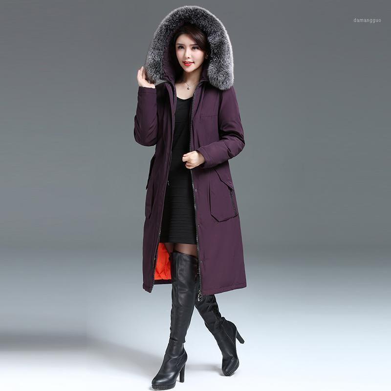 Jacket Womens Korean Down Winter Coat Women Hooded Plus Size Real Fur Collar Long Jackets Chaqueta Mujer KJ0051