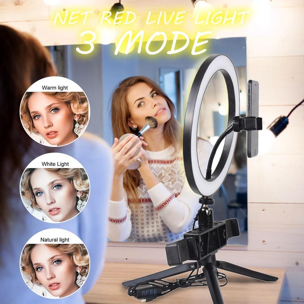 20 centímetros Luz com tripé Suporte Móvel Telefone USB 3Mode LED Transmissão ao vivo do anel de luz de preenchimento / Triângulo suporte / suporte telefone