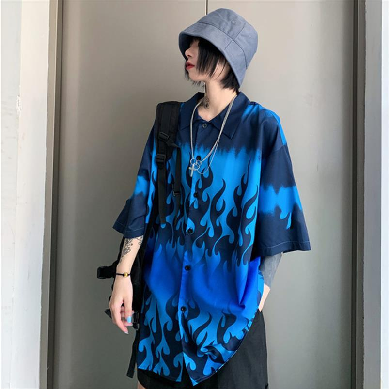 Harajuku Büyük Boy Yangın Baskı Gömlek Kadın Bluzlar Yüksek Sokak BF Stil 2020 Yaz Kısa Kollu Gömlek Tops