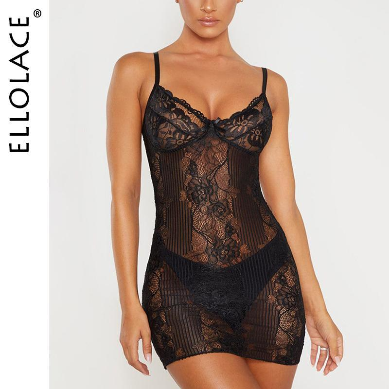 Женские сонные одежды Ellolace Nightdress женщины сексуальные летние кружева Bodycon Lady Spaghetti Brap ночное платье