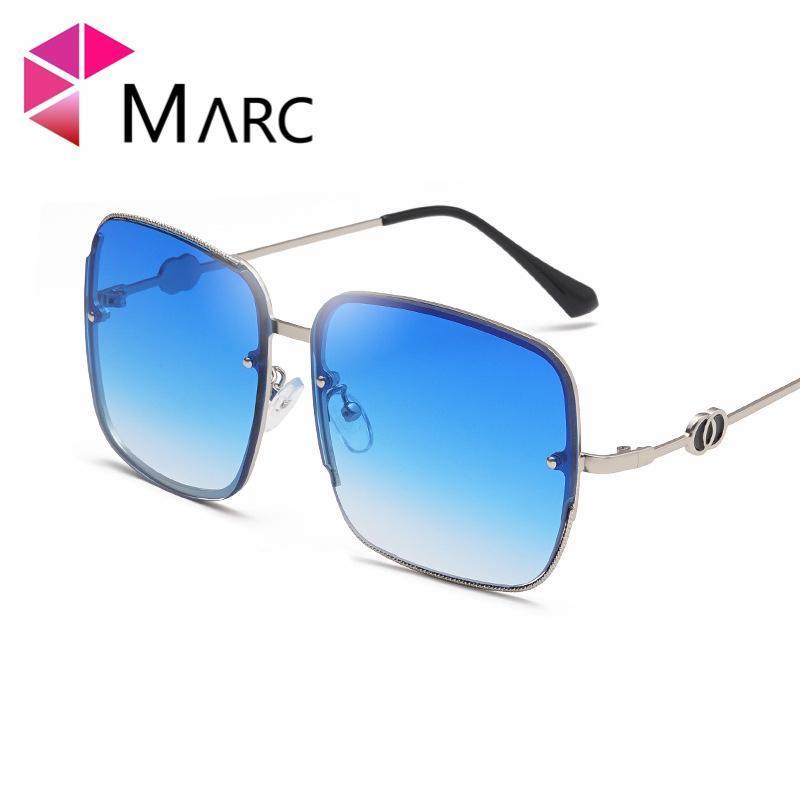 Óculos de Sol Shades Square Marc Mulheres Na moda Designer de Moda Metal Moldura Espelho Retro Azul Oculos Homens Gradiente Oversized Marca GDVSM