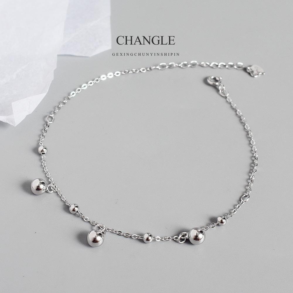 Einfache Persönlichkeit, große und kleine Perle S925 reines Silber Fuß chic koreanische Art und Weise der Frauen runde Perle Kette Schmuck