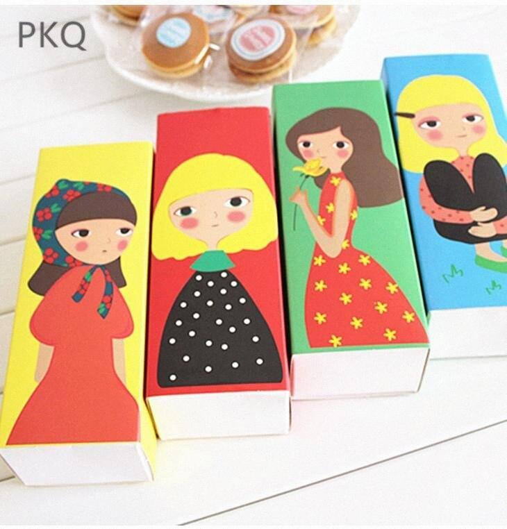 30шт Малый прямоугольник бумаги Box ящика Стиль Упаковка коробка подарка ювелирных изделий DIY Macaron конфеты Cookie XKGF #