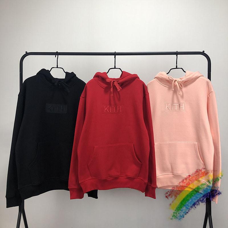 Broderie épaisse Kith BOX à capuche Homme Femme 1: 1 de haute qualité hoodies Rouge Rose KITH Sweat KITH Pull