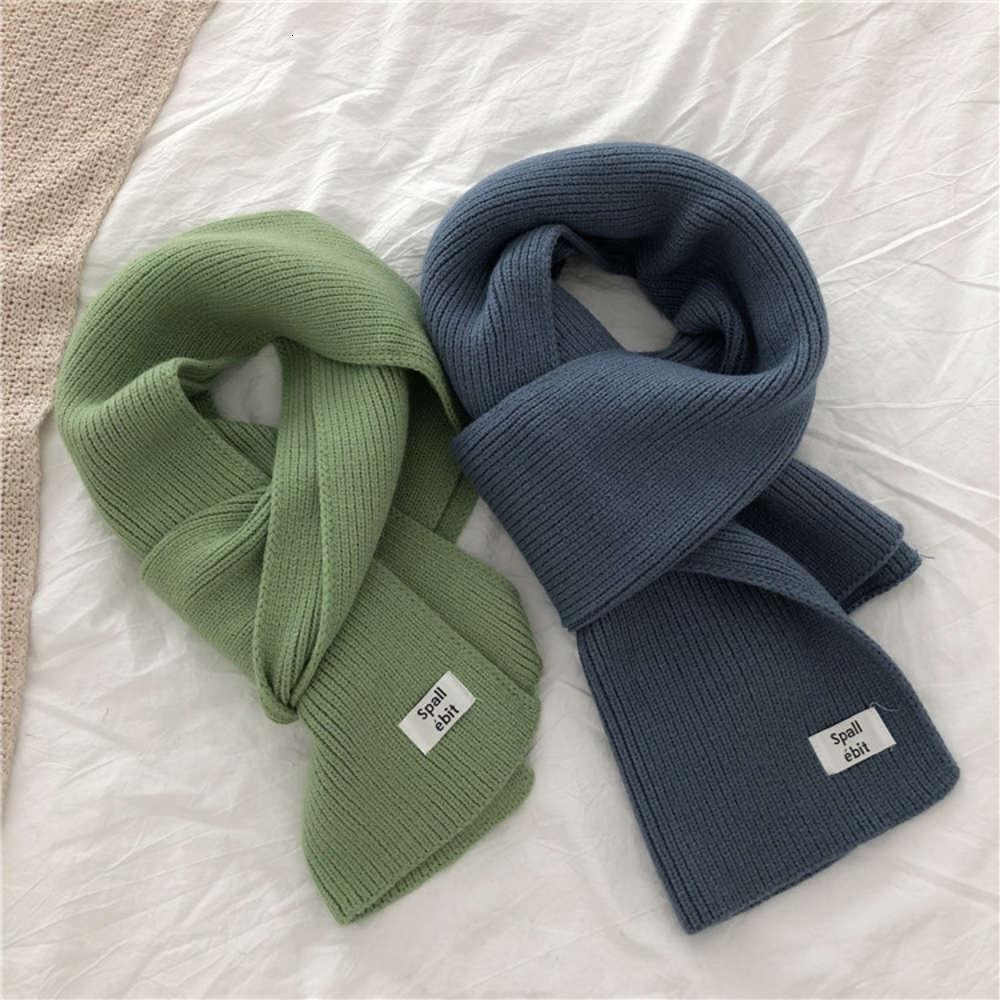 Korean pure color knitted wool scarf for women in autumn and winter