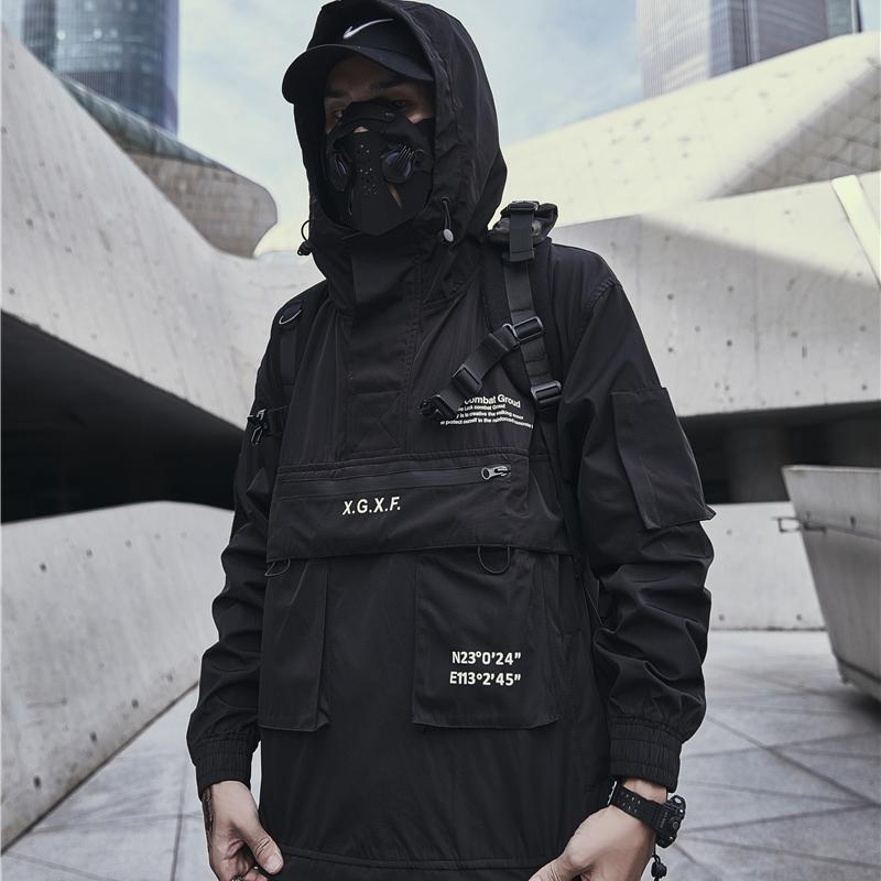 Techwear Ceket Erkekler Siyah Kapüşonlu Çok Cepler Anorak 201116