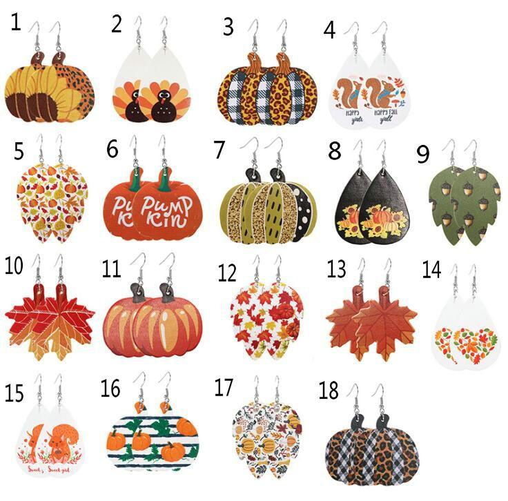 New style creative earrings for Women's PU leather earrings Pumpkin festival Earrings 20pcs/lot Free shipping