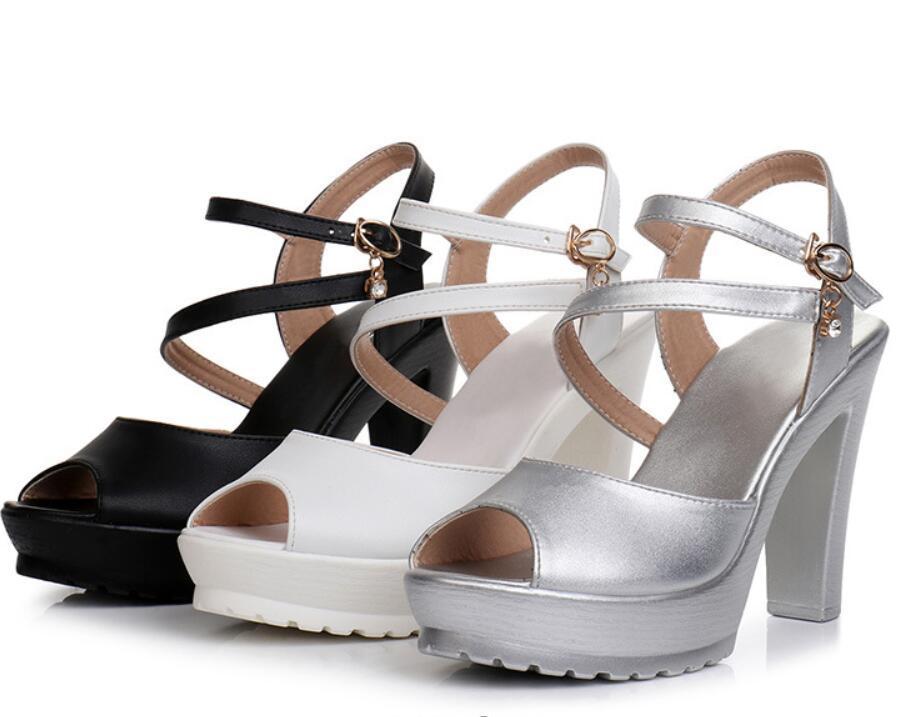 Designer high sandal heel waterproof platform thick white plus-size 35-43 female sandals show models walk on ankle-strap shoes luxury