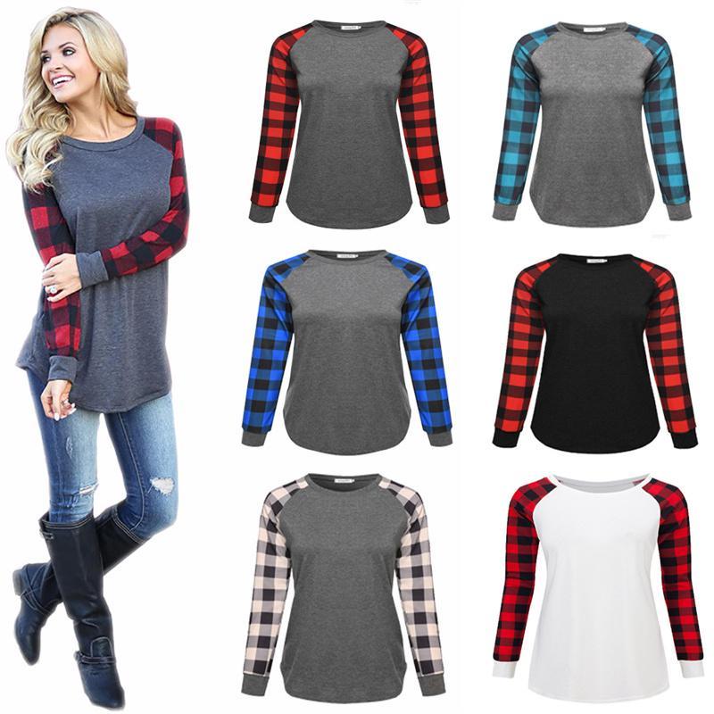 Плюс Размер плед Группа реглан Женщины футболка с длинным рукавом Лоскутная Блуза Футболка Весна Осень Пуловер Повседневный Топы женские одежды