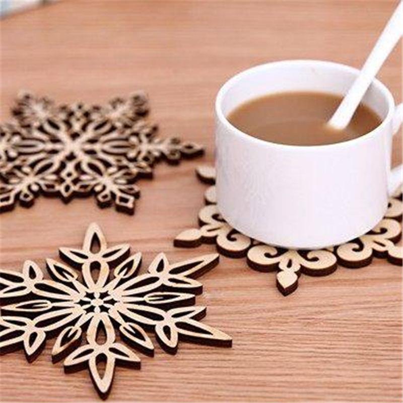 Christmas flocos de neve copo de madeira tapete de natal decorações de Natal jantar prato placa de bandeja para casa decoração 6 estilo fwc4035