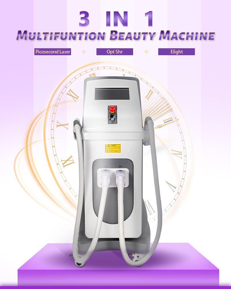 Multifonction laser picoseconde IPL SHR Machine de beauté traitement professionnel pour le Pigment enlèvement chloasma Enlèvement Birthmark Verrues