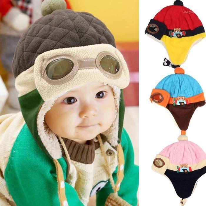 Niños Invierno Casquillo cálido Beanie Piloto Ganchillo Earflap Hats Knit Baby Hat Gorro Dropshipping