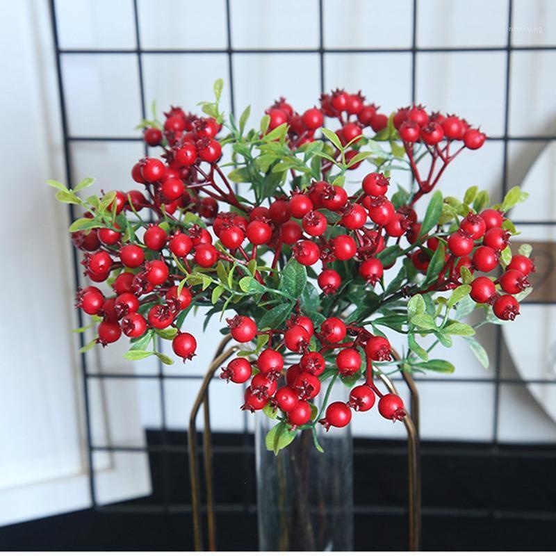 Décoration de Noël Berries Fleurs artificielles Rouge Berry Fruit Xmas Accueil Décorations de mariage Flores artificiels1