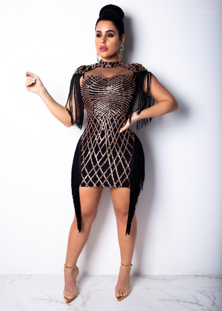 Donne Sequined Geometric Tassel Mesh Mini Dress Eleagnt Bodycon Dresses Party Dress Abito senza maniche Robe Femme Vintage Slim Vestidos1