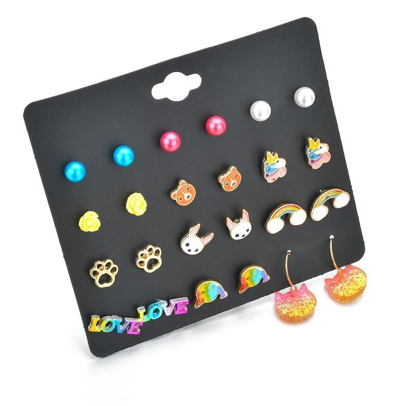 12 PCS / forma dolphinunicorn SET Moda brinco para meninas pequeno cristal bonito Declaração de jóias brinco brincos ER200127
